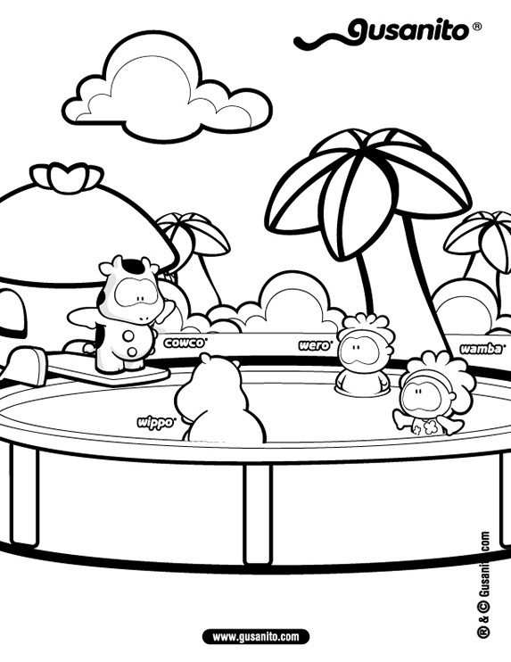 Dibujos para colorear GUSANITO, Cowco y amigos en la piscina para ...