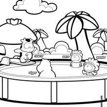 Dibujo de Cowco y amigos en la piscina - Dibujos para Colorear y Pintar - Dibujos para colorear PERSONAJES - PERSONAJES COMIC para colorear - Dibujos para colorear GUSANITO - Dibujos para pintar COWCO