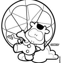 Cowco paracaidista - Dibujos para Colorear y Pintar - Dibujos para colorear PERSONAJES - PERSONAJES COMIC para colorear - Dibujos para colorear GUSANITO - Dibujos para pintar COWCO