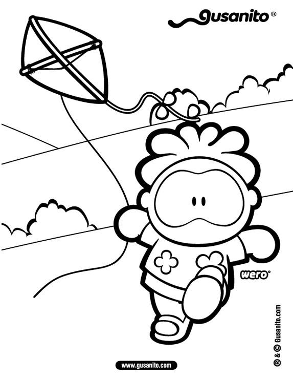 Dibujos para colorear wero y su cometa - es.hellokids.com