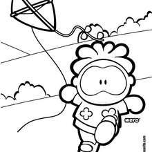 Dibujo de Wero y su cometa - Dibujos para Colorear y Pintar - Dibujos para colorear PERSONAJES - PERSONAJES COMIC para colorear - Dibujos para colorear GUSANITO - Dibujos para colorear WERO