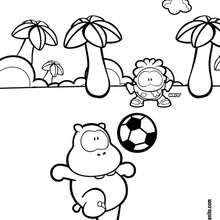 Dibujo para colorear : Wippo y Wero futbolistas