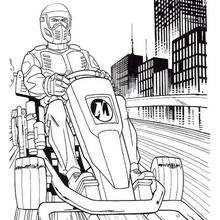 Dibujo para colorear : Action Man conduciendo su moto