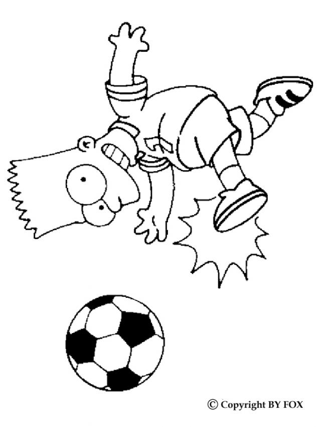 Dibujo Para Colorear   Bart Jugador De F  Tbol