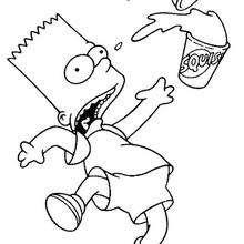 Dibujo para colorear : Bart con un refresco