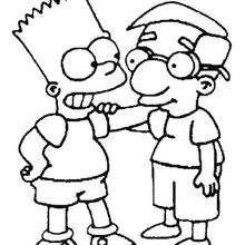 Dibujo para colorear : Bart y Milhouse Mussolini