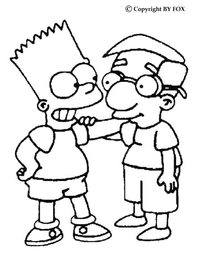 Dibujos Para Colorear Bart Y Milhouse Mussolini Eshellokidscom