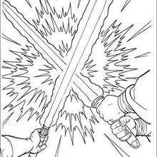 Batalla de sables lázer - Dibujos para Colorear y Pintar - Dibujos de PELICULAS colorear - Dibujos para colorear STAR WARS - Dibujos para colorear QUI GON JINN
