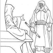 Dibujo para colorear : Darth Maul y el Emperador