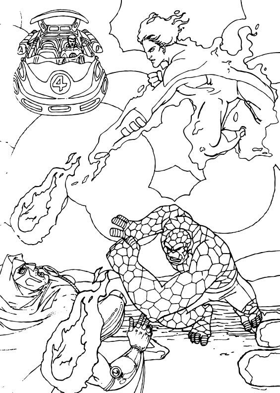 Dibujo de antorcha humana contra fatalis - Dibujos para colorear ...