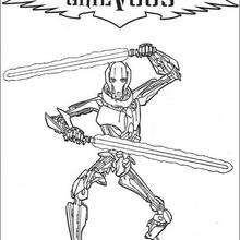 Dibujo para colorear : El General Grievous al combate