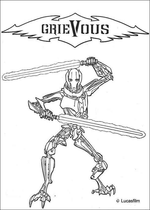 Dibujos para colorear el general grievous al combate - es.hellokids.com