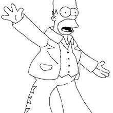 Dibujo para colorear : Homer disfrazado de Elvis