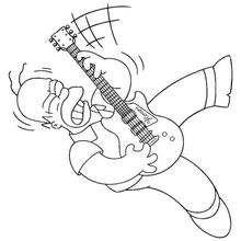 Dibujo para colorear : Homer el rockero