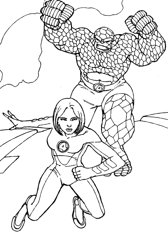 Dibujos para colorear MUJER INVISIBLE - Pintar e imprimir 4 Superhéroes