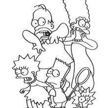 Dibujo para colorear : La familia Simpson asustada