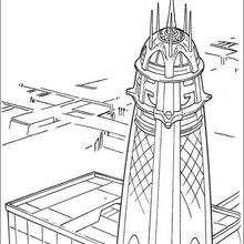 Dibujo para colorear : La torre de los Jedi en Coruscant