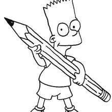 Dibujo para colorear : Bart con un lápiz
