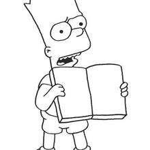 Dibujo para colorear : Bart con un libro