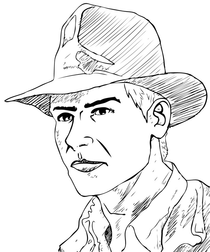 Dibujos para colorear y pintar INDIANA JONES - Cara de Indiana Jones