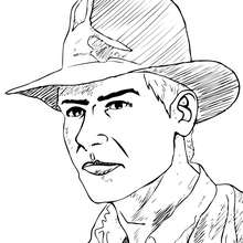 Dibujo para colorear : Cara de Indiana Jones
