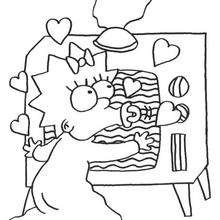 Dibujo para colorear : Maggie adora la telé