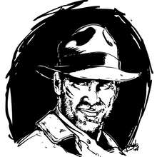 Dibujo para colorear : Retrato de Indiana Jones