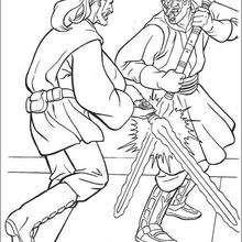 Qui-Gon Jinn contra Darth Maul - Dibujos para Colorear y Pintar - Dibujos de PELICULAS colorear - Dibujos para colorear STAR WARS - Dibujos para colorear QUI GON JINN