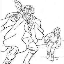 Qui-Gon Jinn con Anakin - Dibujos para Colorear y Pintar - Dibujos de PELICULAS colorear - Dibujos para colorear STAR WARS - Dibujos para colorear QUI GON JINN