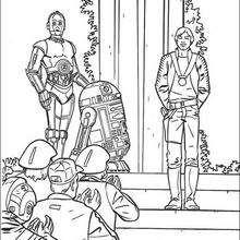 Dibujo para colorear : Victoria : Luke, R2-D2 y C-3PO