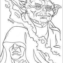 Yoda contra el Emperador - Dibujos para Colorear y Pintar - Dibujos de PELICULAS colorear - Dibujos para colorear STAR WARS - Dibujos para colorear MAESTRO YODA