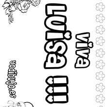 LUISA colorear nombres niñas - Dibujos para Colorear y Pintar - Dibujos para colorear NOMBRES - Dibujos para colorear NOMBRES NIÑAS