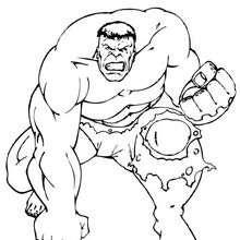 Dibujo para colorear : Hulk de rodillas