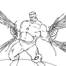 Dibujo para colorear : Hulk arranca hilos eléctricos
