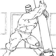 Dibujo para colorear : Hulk arranca un poste eléctrico