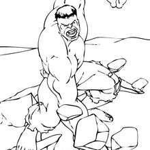 Dibujo para colorear : Hulk rompe el suelo