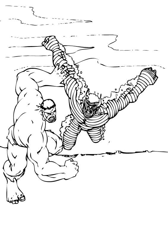 Dibujos para colorear hulk levanta un tanque - es.hellokids.com