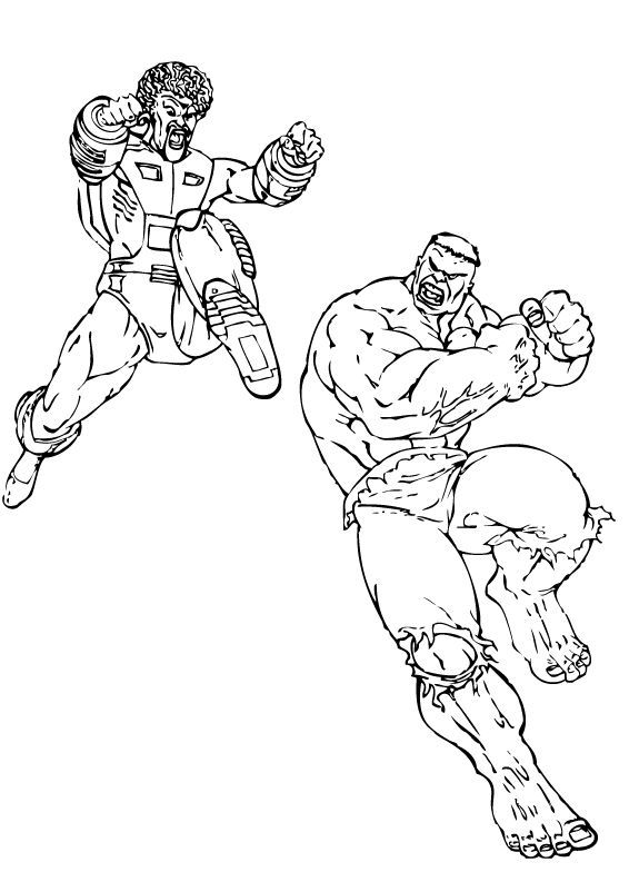 Dibujos para colorear hulk contra el leader - es.hellokids.com