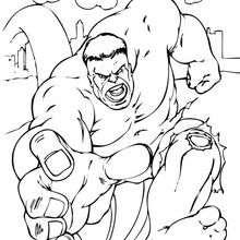 Hulk corre - Dibujos para Colorear y Pintar - Dibujos para colorear SUPERHEROES - Hulk para colorear