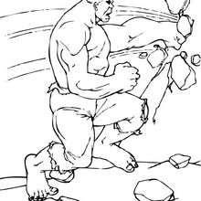Hulk destroza una pared - Dibujos para Colorear y Pintar - Dibujos para colorear SUPERHEROES - Hulk para colorear
