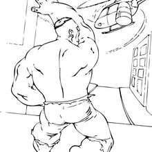 Dibujo para colorear : Hulk destroza un helicóptero