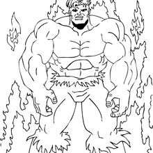 Hulk en las llamas - Dibujos para Colorear y Pintar - Dibujos para colorear SUPERHEROES - Hulk para colorear