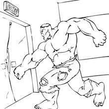 Hulk destraoza una puerta - Dibujos para Colorear y Pintar - Dibujos para colorear SUPERHEROES - Hulk para colorear
