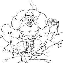 Hulk causa un terremoto - Dibujos para Colorear y Pintar - Dibujos para colorear SUPERHEROES - Hulk para colorear