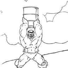 Dibujo para colorear : Hulk lanza un baril