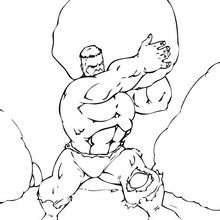 Dibujo para colorear : Hulk lanza una roca