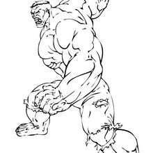 Hulk amenazando con el puño - Dibujos para Colorear y Pintar - Dibujos para colorear SUPERHEROES - Hulk para colorear