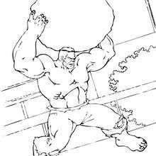 Hulk levanta una roca - Dibujos para Colorear y Pintar - Dibujos para colorear SUPERHEROES - Hulk para colorear