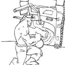 Dibujo para colorear : Hulk levanta un tanque