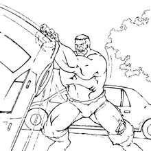 Dibujo para colorear : Hulk levanta un coche